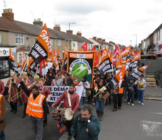 Carillion strikers marching through Swindon in March 2012