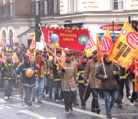 Firefighters on a national FBU demonstration in London on October 16 – they are determined to defend their pension rights