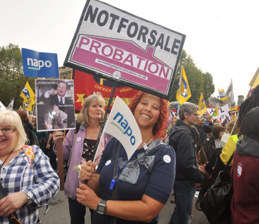 NAPO members opposed to privatisation on the October 2012 TUC demonstration in London