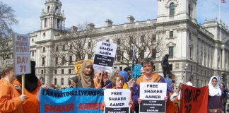 Parliament Square vigil demanding the release of Shaker Aamer from Guantanamo Bay prison
