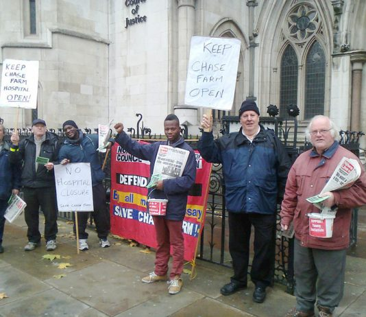 Yesterday's picket by the North London Council of Action of the Judicial Review hearing into the proposed closure of Chase Farm Hospital A&E department