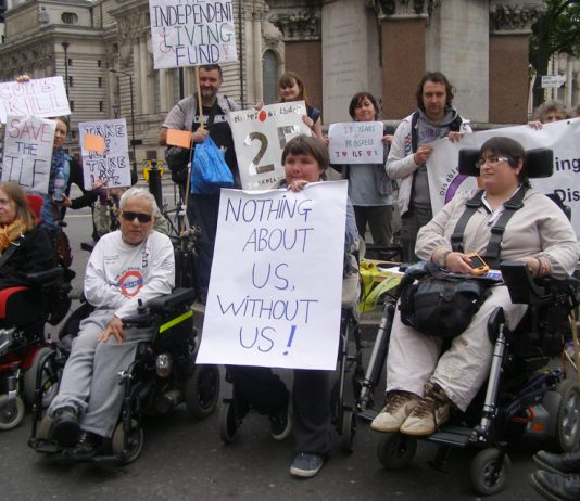 Disabled protest against cuts to benefits
