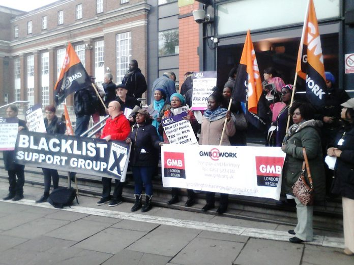 Cleaners in the GMB union, who are fighting against a 23 per cent pay cut, were supported by lecturers in the UCU union
