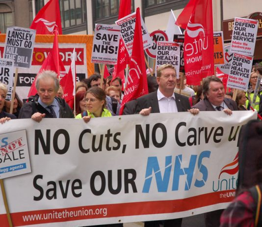Unite General Secretary LEN McCLUSKEY (centre) heading a march in London in defence of the NHS in May