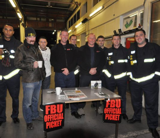 Pickets at Chelsea Fire Station on November 1st – they will be marching out at 10.00am today