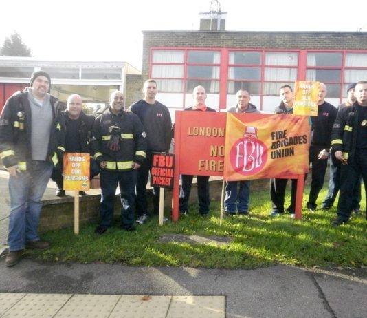 FBU strikers on the picket line at Northolt Fire Station