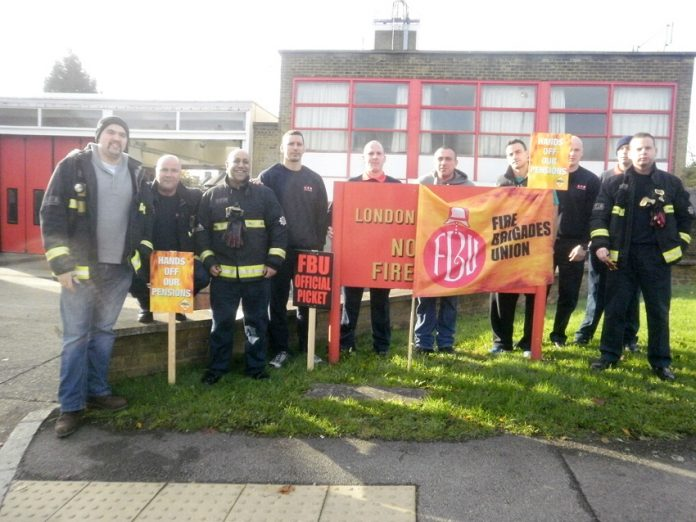 FBU strikers on the picket line at Northolt Fire Station