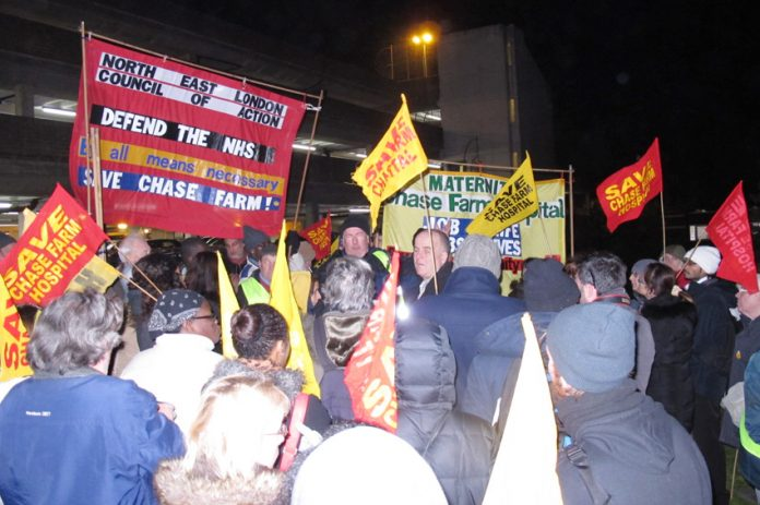 The rally in the hospital grounds after the march