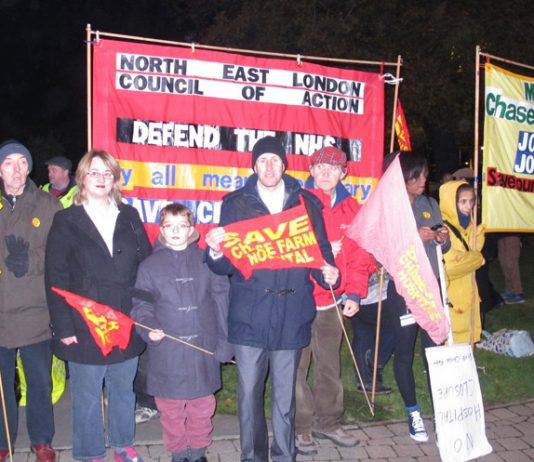 Enfield residents and trade unionists assemble on Thursday night before marching to Chase Farm Hospital, determined to keep it open