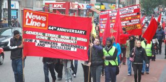 The front of Sunday's march from Bethnal Green to the News Line Anniversary rally at Queen Mary University