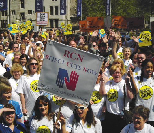 Royal College of Nurses rally against cuts to keep patients safe