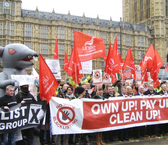 Yesterday's mass lobby outside the House of Commons demanding the prosecution of all those companies who have been involved in the blacklisting of workers