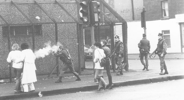 British troops firing on civilians in the north of Ireland