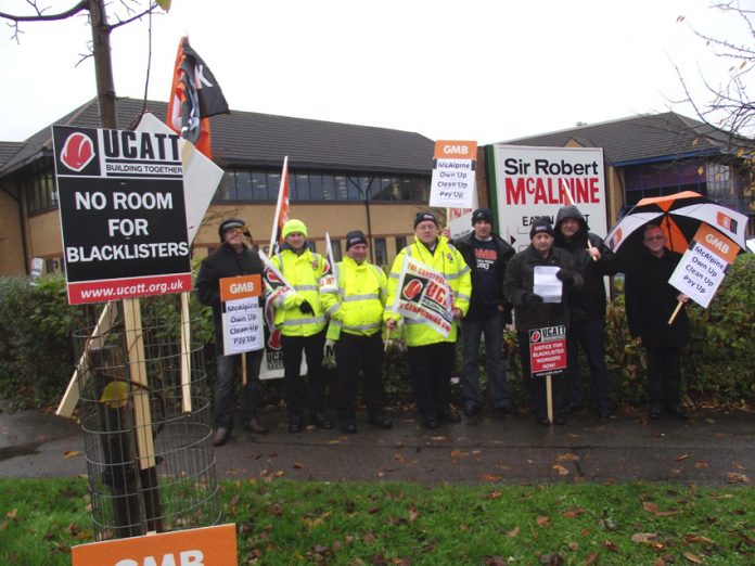 Pickets outside the Hemel Hempstead HQ of McAlpine on Wednesday morning