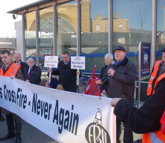 RMT leader Bob Crow addressing a lobby on the anniversary of the King's Cross disaster in November 2011