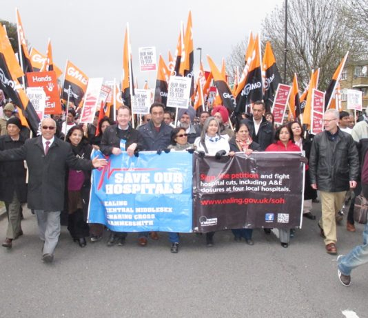 A large GMB contingent on the Ealing Save Our Hospitals march in April against the closure of four A&Es in west London