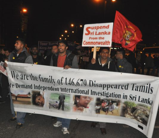 March in London earlier this month  condemning holding the Commonwealth Heads of Government Meeting in Sri Lanka