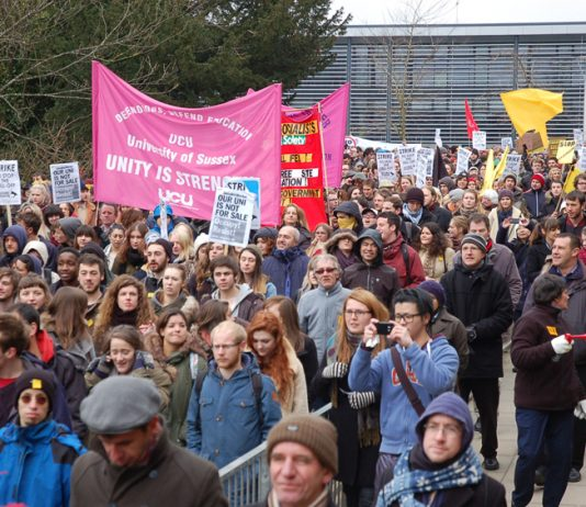 March around Sussex University Campus during the occupation on 25th March 2013 – they have now resumed their occupation