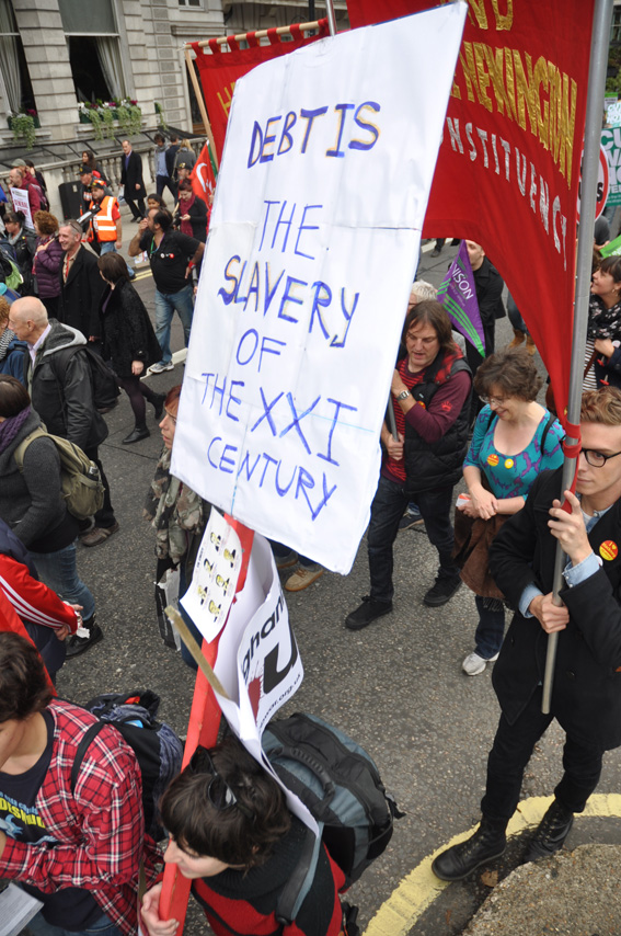 Placard on the TUC demonstration of October 20 2012