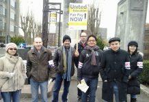 Picket line at Birmingham University on Tuesday morning