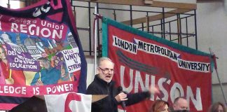 UCU rallly at Bloomsbury Baptist Church, Tottenham Court Road, attended by over 200 lecturers and university staff supported by a number of students
