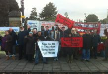 A big part of the 60-strong picket at Chase Farm Hospital yesterday