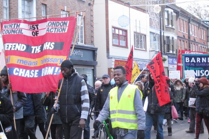 North East London Council of Action marchers demanding that Chase Farm Hospital A&E be kept open attracted much support in Enfield town centre on Saturday