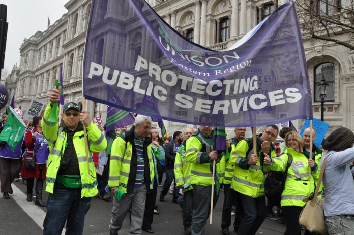 Ambulance workers marching on a TUC demonstration against cuts