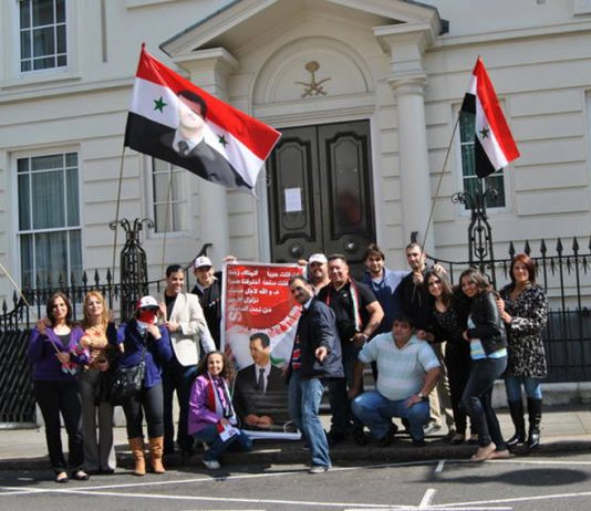 Syrians in London picket the Saudi embassy