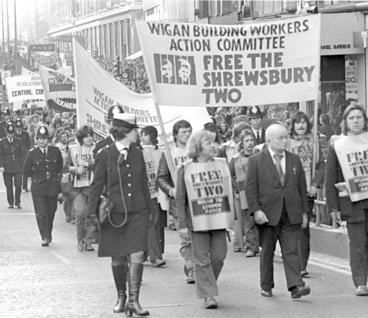 The march to free the Shrewsbury Two in 1975 ended in a mass demo in London