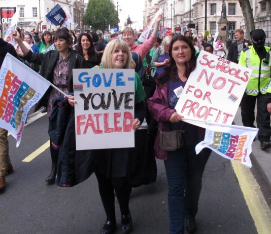 Teachers marching during the joint NUT/NASUWT strike in November with a clear message for Education Secretary Gove