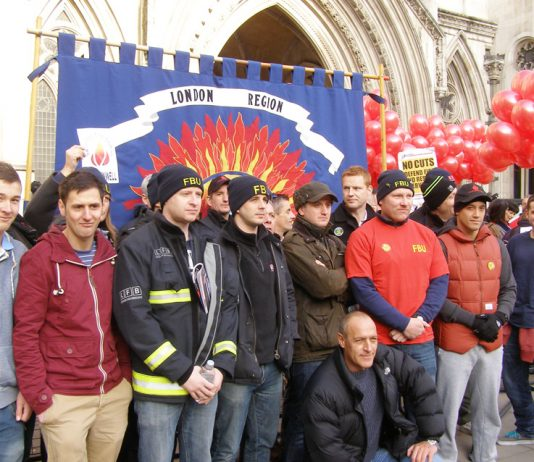 Firefighters at the High Court fighting the government's plan to destroy their pensions and shut down fire stations
