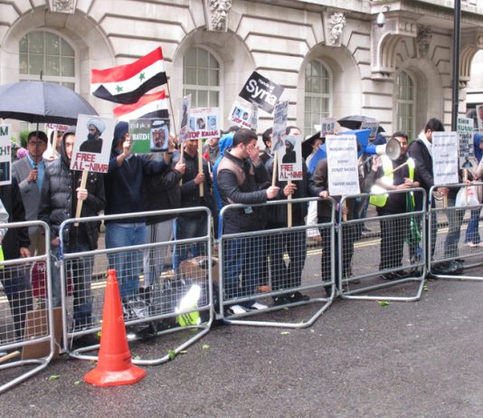 Syrians in London picketing the Saudi Embassy in June in support of President Assad