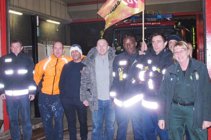 A lively picket at Kentish Town fire station