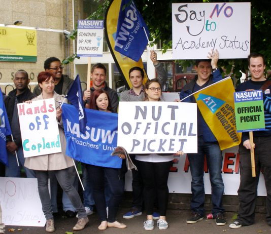 NUT and NASUWT teachers on the picket line at Copland Community School during strike action in July against becoming an academy