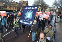 BMA banner on the march to keep Lewisham Hospital open – BMA is emphasising that council cuts do have a negative affect on heath