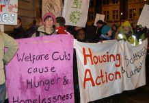 Protesters outside Lambeth Town Hall last November with a clear message about the goverment's 'austerity' cuts