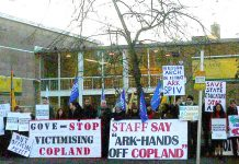 A large and lively picket of striking teachers outside Copland Community School in Wembley yesterday morning