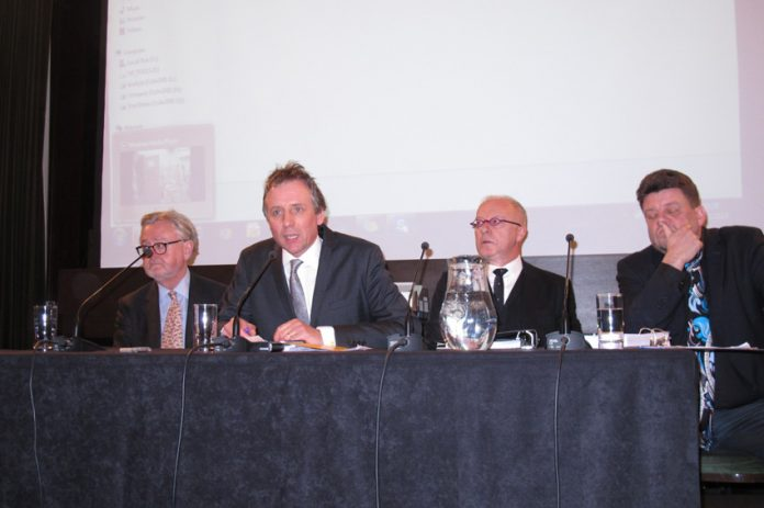 Platform at Tuesday night's news conference at the Law Society in London. (L-R) Professor William Shabar, meeting chair Michael Fordham QC, Phil Shiner and Wolfgang Kaleck