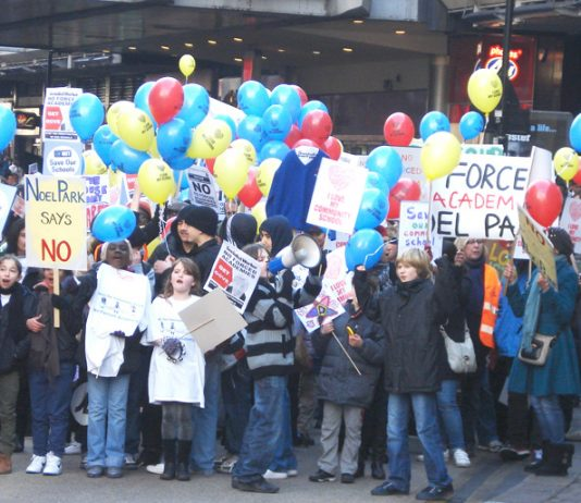 Parents have been battling against attempts to foist academies on schools for the past two years. Picture shows a Haringey march against forced academies in January 2012