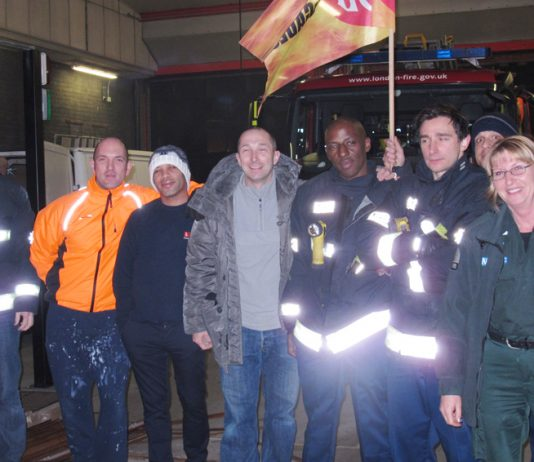 Kentish Town firefighters in their recent strike action – the battle against cuts and closures is taking place all over the country
