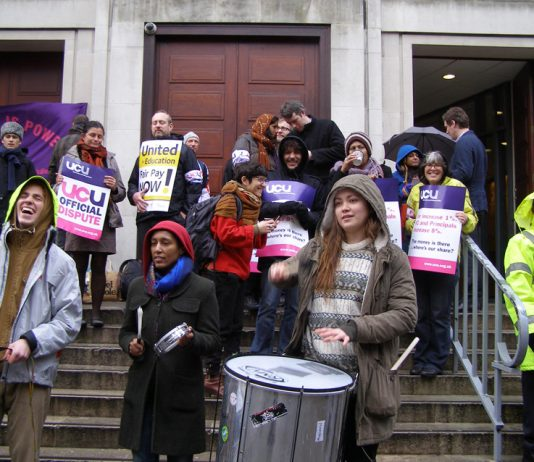 SOAS Samba Band and SOAS students support striking lecturers picketing the university over a derisory 1% pay offer