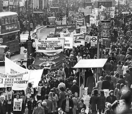 Gerry Healy (left) of the WRP leading the Wigan Building Workers' Action Committee march in central London in 1975 demanding the release of the jailed building workers after the Action Committee voted to march from Wigan to London