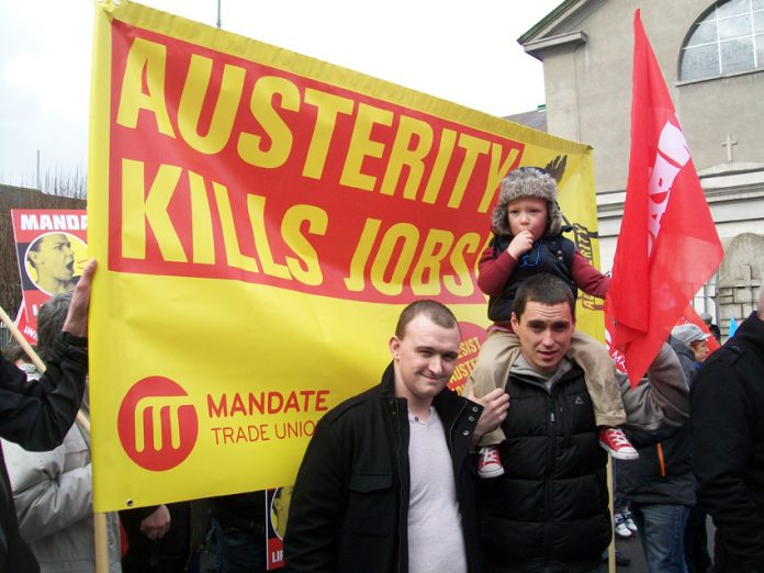 Workers marching in Dublin with a clear message