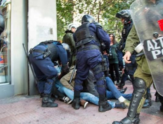 Greek 'Delta' riot police beating up students who were protesting at the drowning of migrants