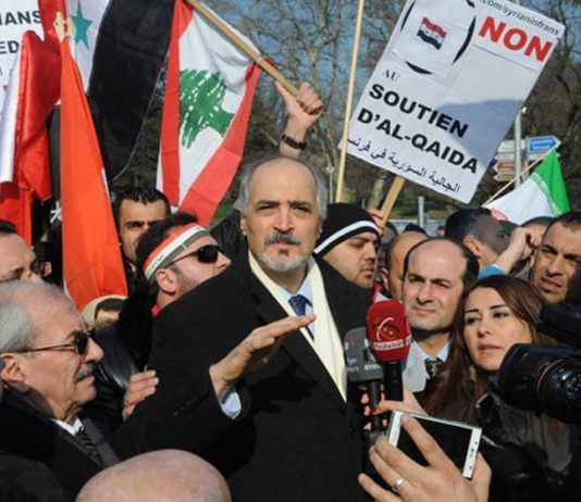 Syrian permanent representative to the United Nations DR BASHAR AL-JAAFARI addressing the press in Geneva