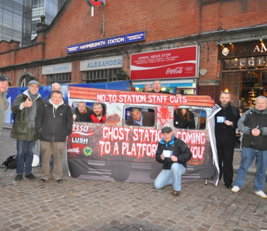 RMT and TSSA on a 'Ghost Train' protest in Hammersmith against the closure of every ticket office across London Underground and the sacking of 1,000 staff