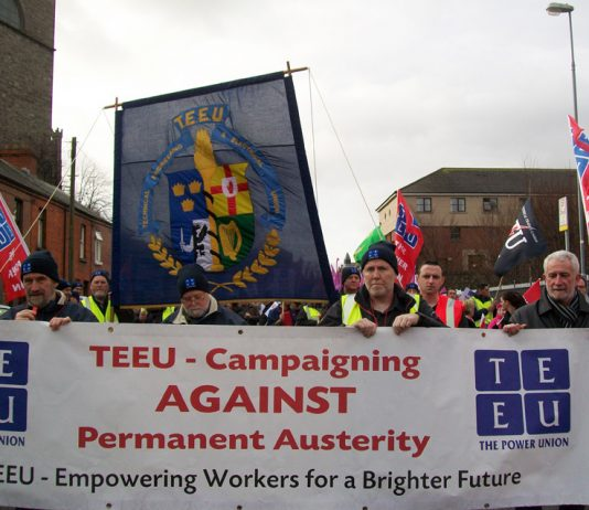 Technical, Engineering and Electrical Union banner on a demonstration in Dublin against paying for the crisis of the banks