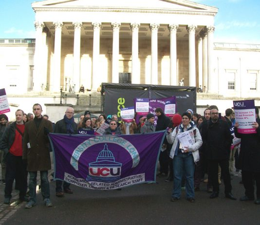 UCU members on the picket line with students during their last strike on January 23