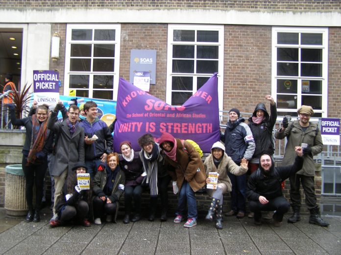 A big and enthusiastic picket line of all unions and students at SOAS in central London yesterday